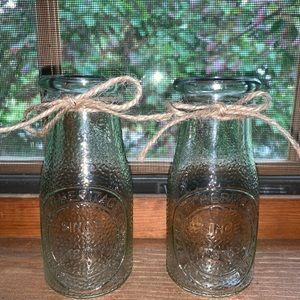 Vintage Inspired Glass Milk Bottles
